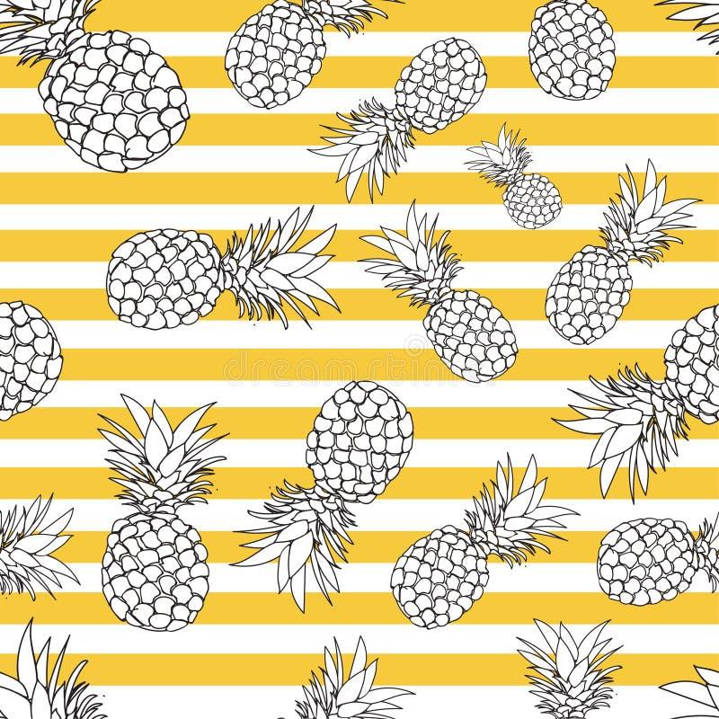 Het naadloze patroon van de ananas de zomerpatroon op een gestreepte achtergrond royalty-vrije illustratie