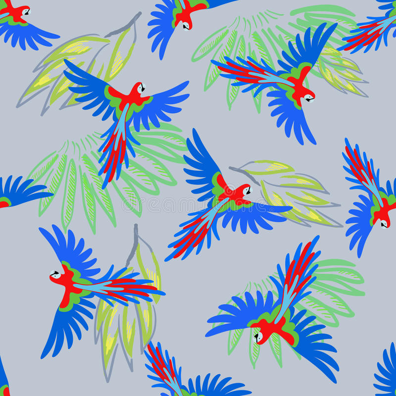 Het naadloze patroon van de arapapegaai royalty-vrije illustratie