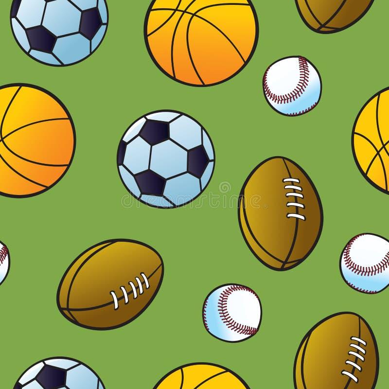 Het naadloze Patroon van de Bal van de Sporten van het Beeldverhaal stock illustratie