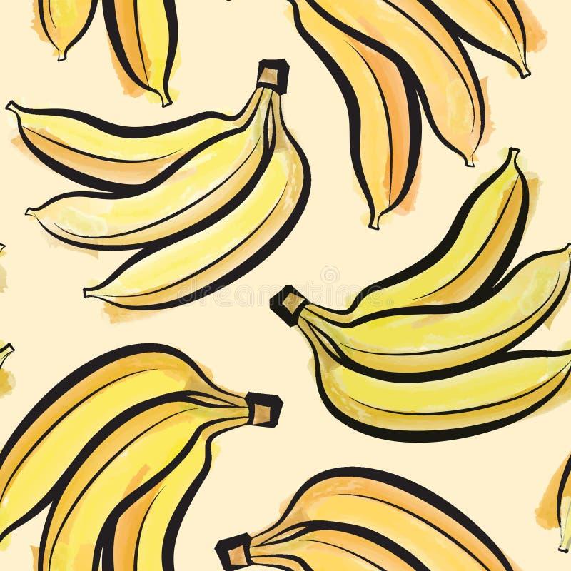 Het naadloze patroon van de banaanwaterverf Sappige vruchten stock illustratie