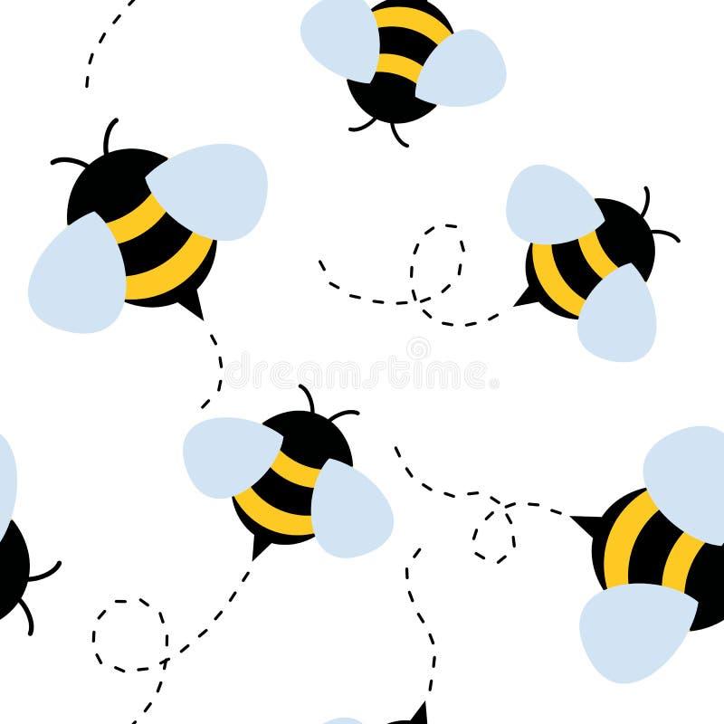 Het naadloze patroon van de bij Honingsvector royalty-vrije illustratie