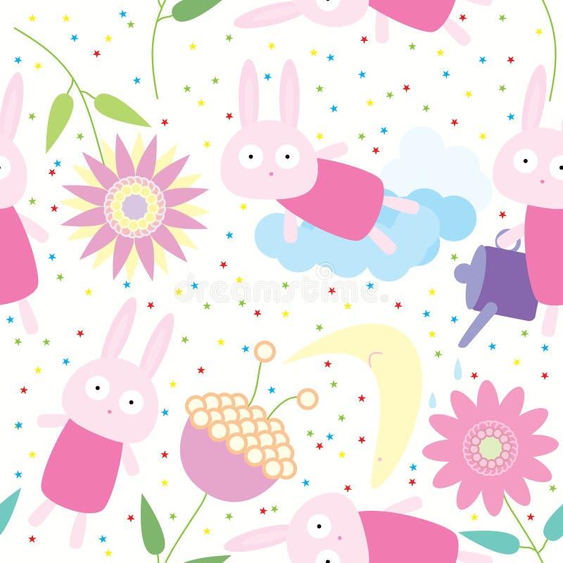 Het Naadloze Patroon van de Bloem van het konijn stock illustratie