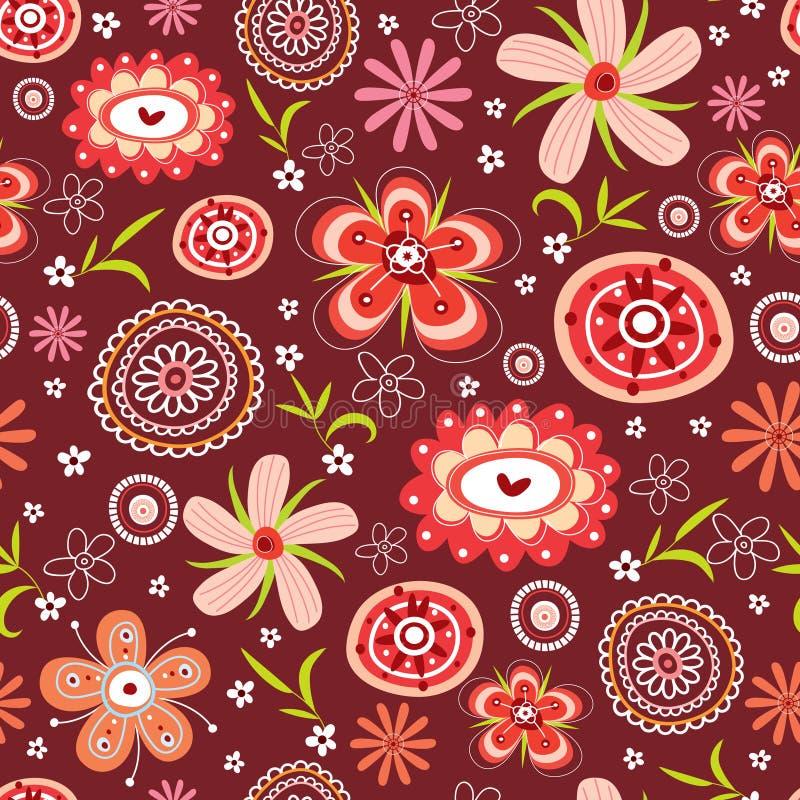 Het naadloze patroon van de bloem van rood vector illustratie