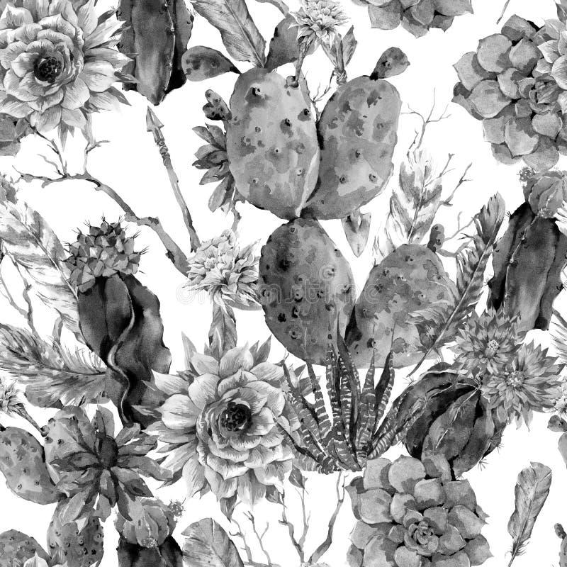 Het naadloze patroon van de cactuswaterverf in bohostijl vector illustratie