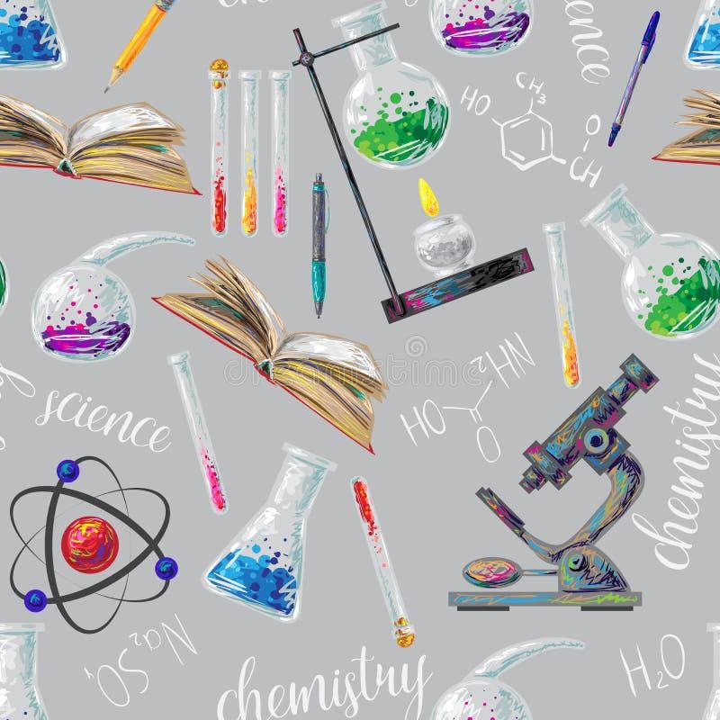Het naadloze patroon van de chemie stock illustratie