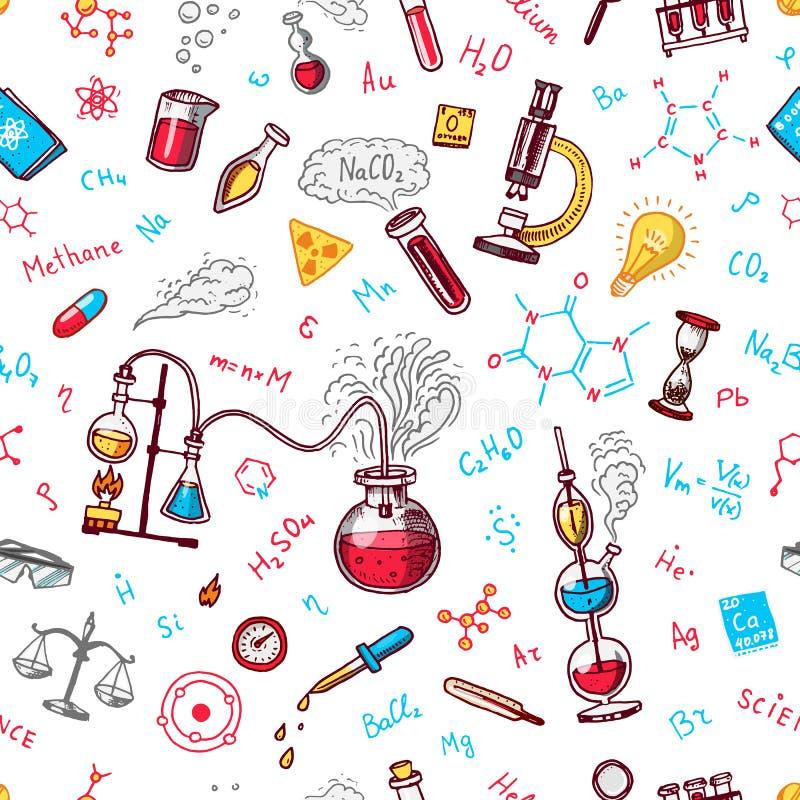 Het naadloze patroon van de chemie Bord met elementen, formules, atoom, test-buis en laboratoriummateriaal Laboratorium stock illustratie