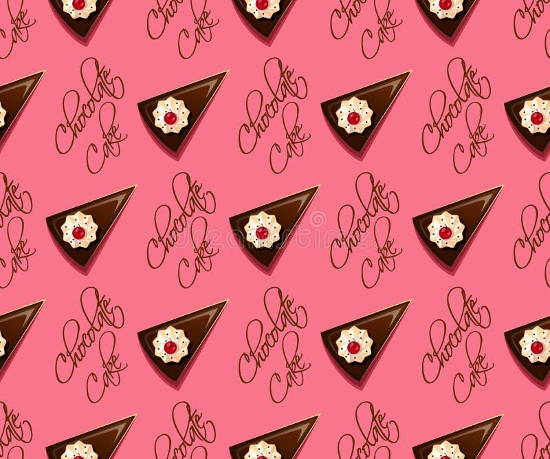Het naadloze patroon van de chocoladecake royalty-vrije illustratie
