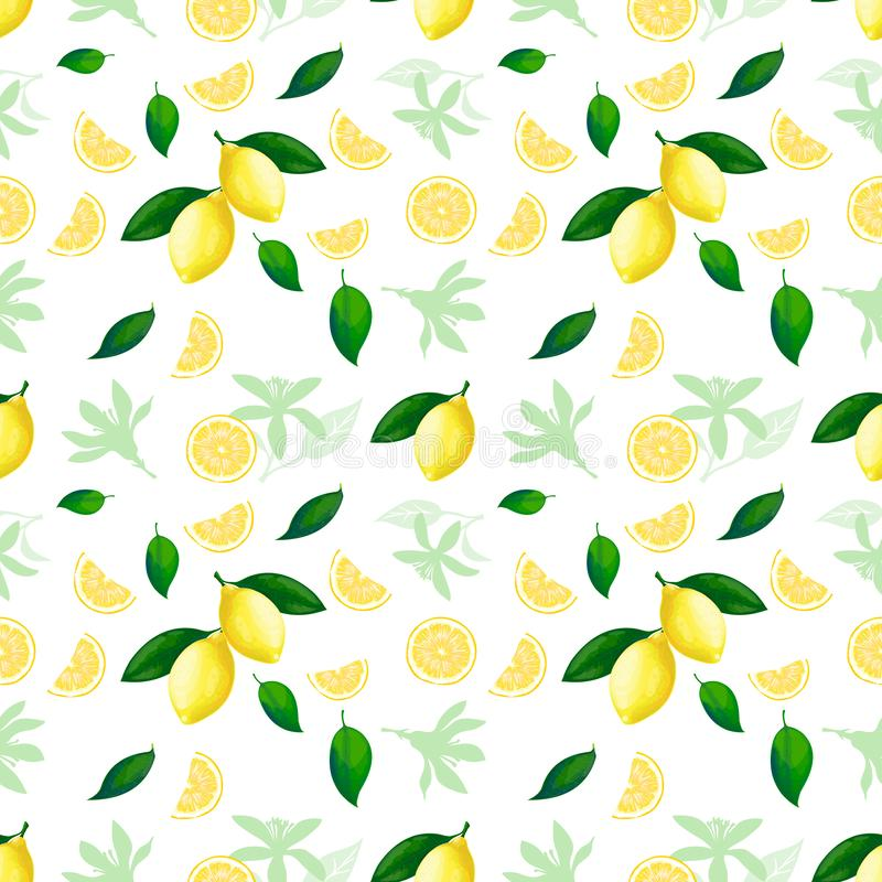 Het naadloze patroon van de citroen De zomer van de de citrusvruchtentextuur van de citroenencocktail gele verse het herhalen vec royalty-vrije illustratie