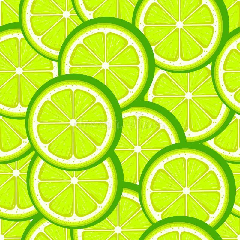 Het naadloze patroon van de citrusvruchtenkalk Groene kalkplakken Vector illustratie royalty-vrije illustratie