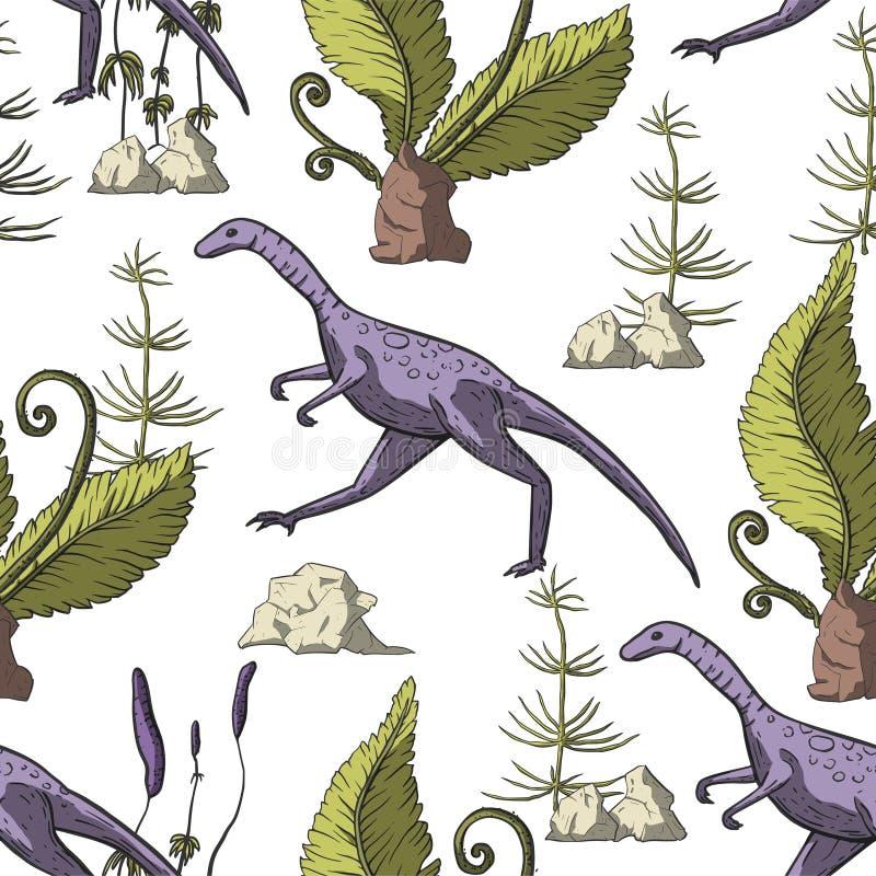 Het naadloze patroon van de Compsognathusdinosaurus royalty-vrije illustratie