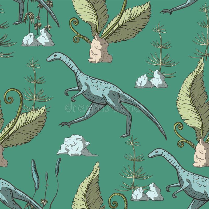 Het naadloze patroon van de Compsognathusdinosaurus stock illustratie