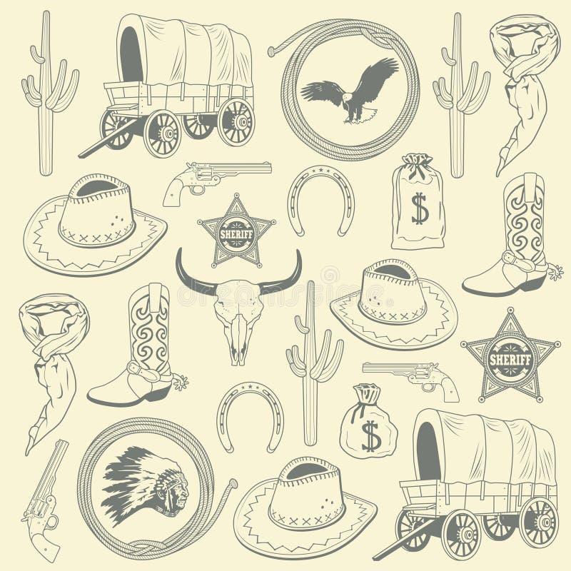 Het naadloze patroon van de cowboy royalty-vrije illustratie