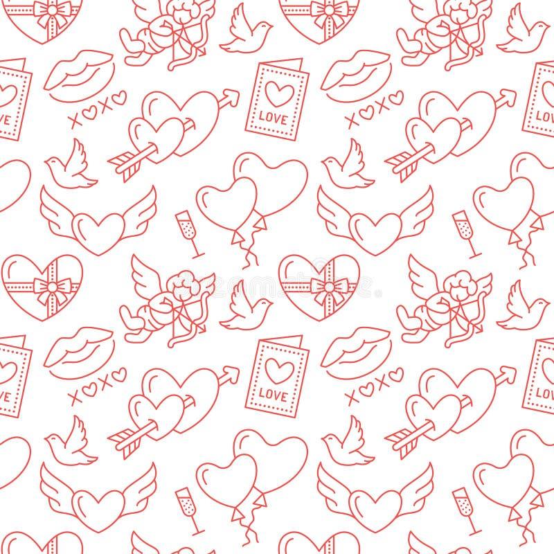 Het naadloze patroon van de Dag van valentijnskaarten Liefde, Romaanse vlakke lijnpictogrammen - harten, chocolade, kus, Cupido,  stock illustratie