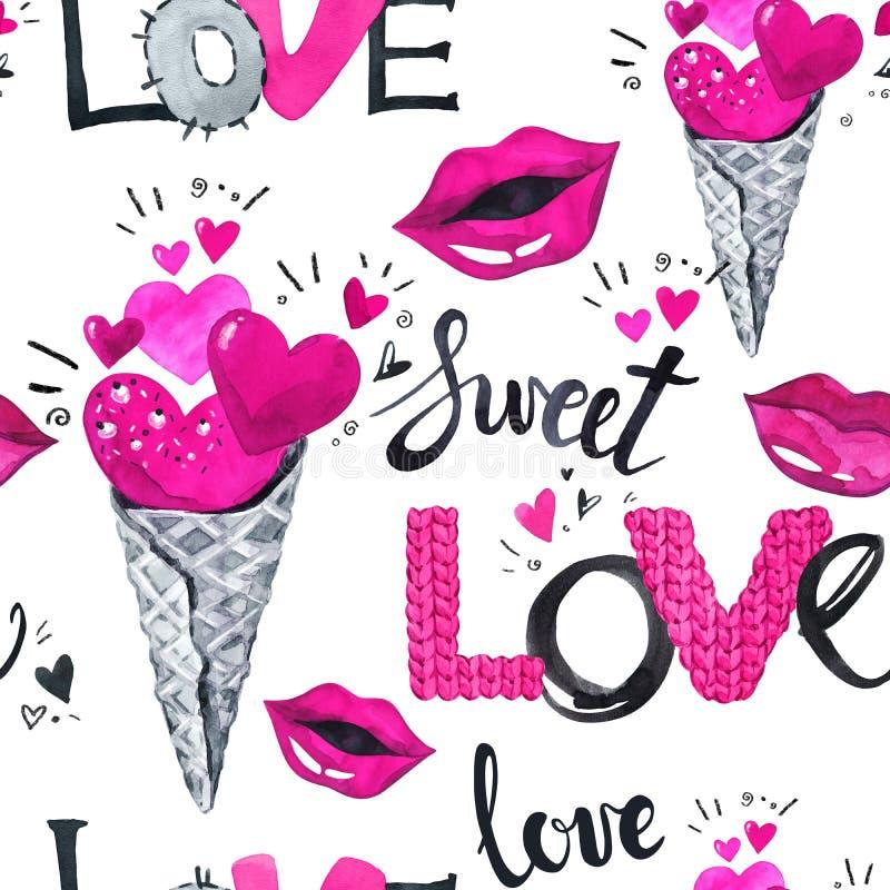 Het naadloze patroon van de Dag van valentijnskaarten Waterverfijs crean met harten, liefdewoorden en lippen stock illustratie
