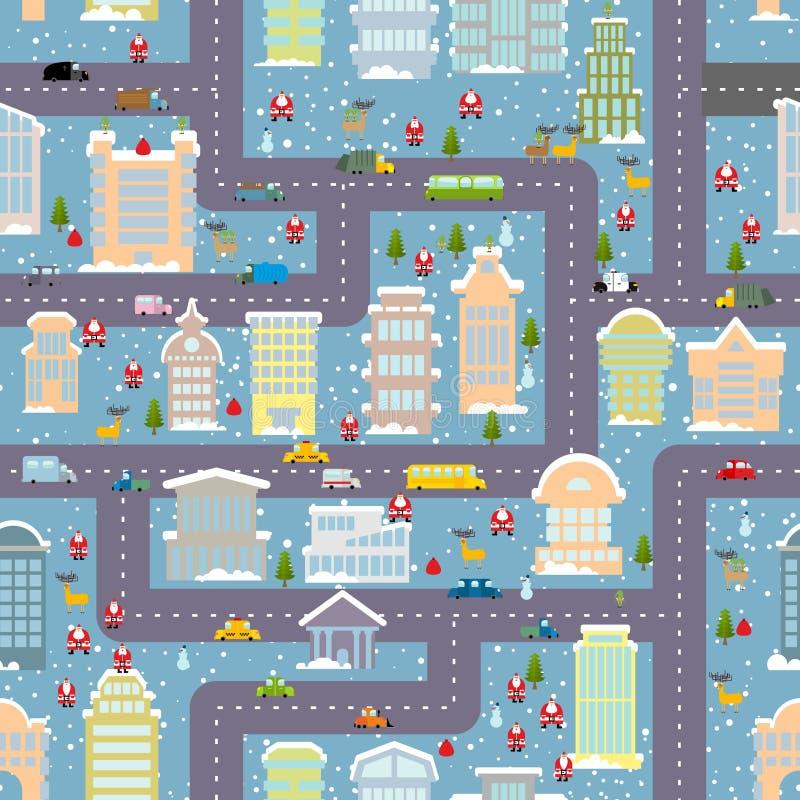 Het naadloze patroon van de de winterstad Kerstmis in Stad Onroerende goederen kaart royalty-vrije illustratie