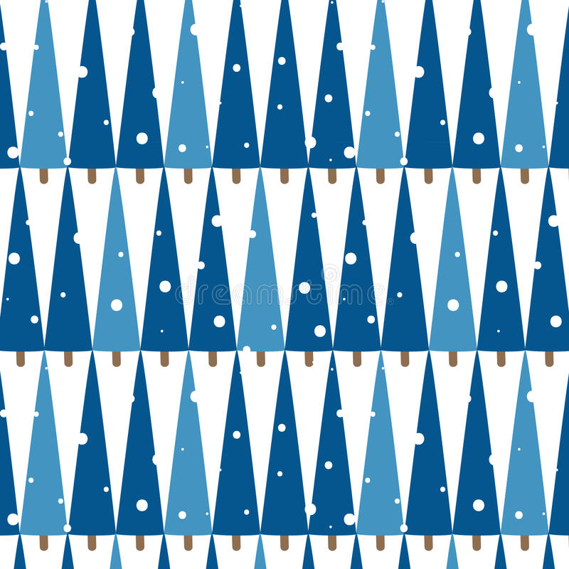 Het naadloze patroon van de de wintervakantie met geometrische blauwe sparren stock illustratie