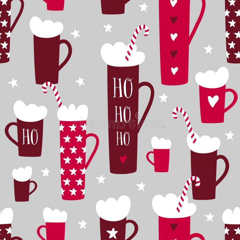 Het naadloze patroon van de de wintervakantie met mokken, suikergoedriet, sterren royalty-vrije illustratie
