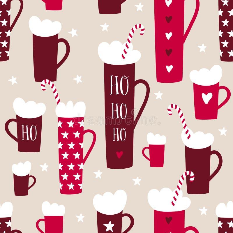 Het naadloze patroon van de de wintervakantie met mokken, suikergoedriet, sterren vector illustratie
