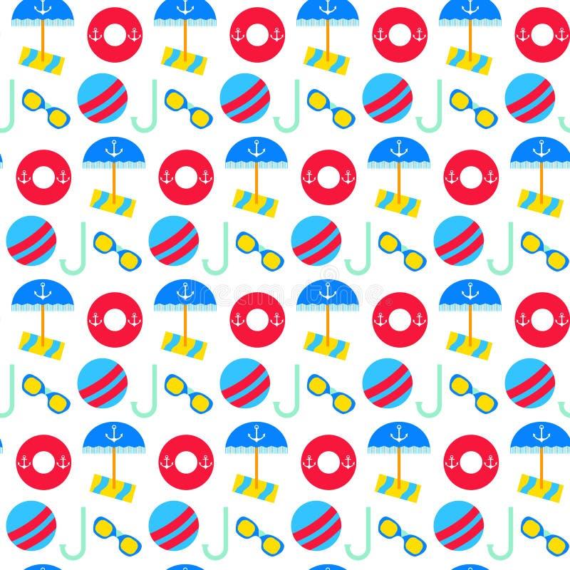 Het naadloze patroon van de de zomervakantie stock illustratie