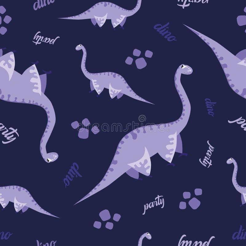 Het naadloze patroon van de Dinosaurus Dierlijke donkerblauwe achtergrond met purpere Dino Vector illustratie stock illustratie