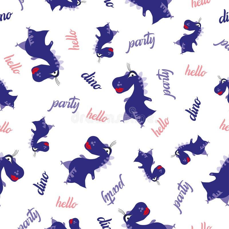 Het naadloze patroon van de Dinosaurus Dierlijke witte achtergrond met donkerblauwe Dino Vector illustratie vector illustratie