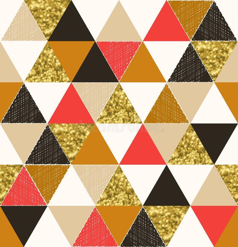 Het naadloze patroon van de driehoekstegel met glitteryeffect royalty-vrije illustratie