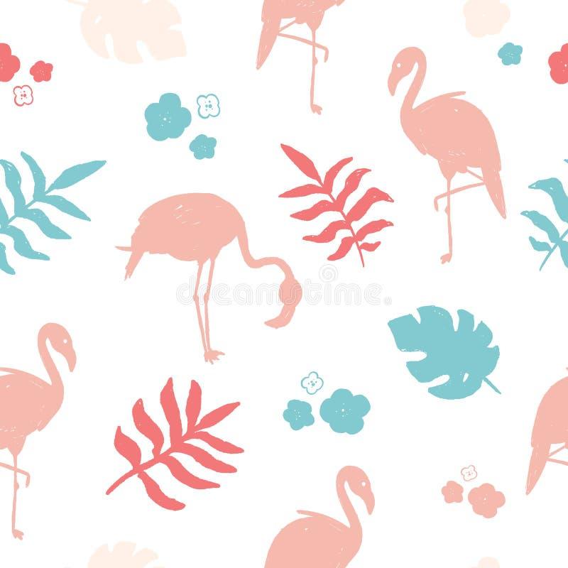 Het naadloze patroon van de drukflamingo met tropische wildernis Het eenvoudige Kleurrijke behang van grungealoha stock illustratie