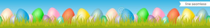 Het naadloze patroon van de eierenlijn met ei en gras op blauwe achtergrond voor decoratie royalty-vrije illustratie