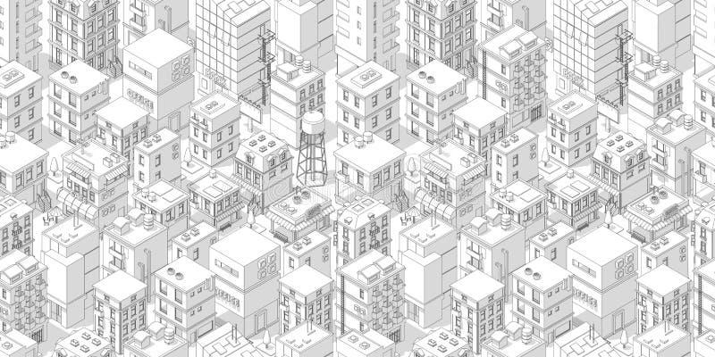 Het naadloze patroon van de gebouwenstad Daken witte lichte achtergrond Isometrische hoogste mening Vectorillustratievoorraad Gri royalty-vrije illustratie