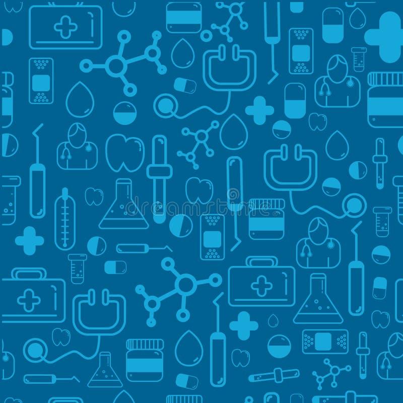 Het naadloze patroon van de geneeskundegezondheidszorg met de tekens van de overzichtsapotheek met inbegrip van pillen, vitaminen stock illustratie