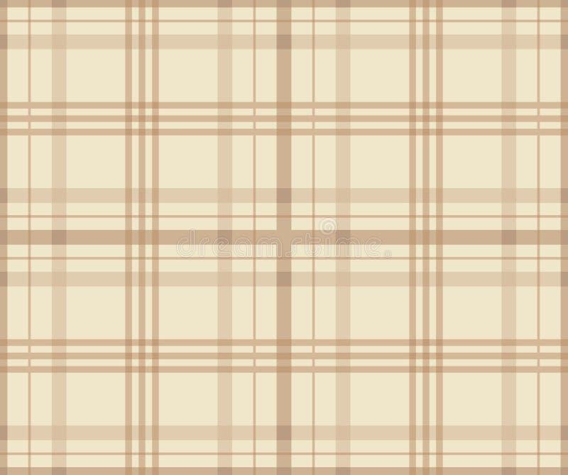 Het naadloze patroon van de geruit Schots wollen stofplaid De geruite druk van de stoffentextuur in strepenroom en bleke bruine k vector illustratie