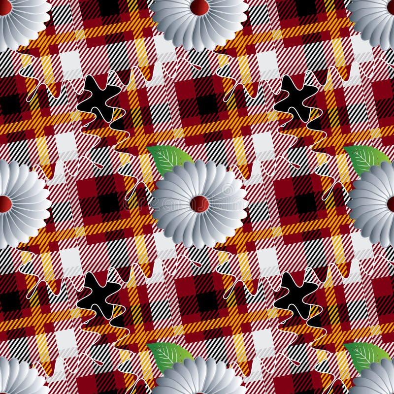 Het naadloze patroon van de geruit Schots wollen stofplaid Gestreepte sier bloemenachtergrond Geometrisch herhaal controlesachter royalty-vrije illustratie
