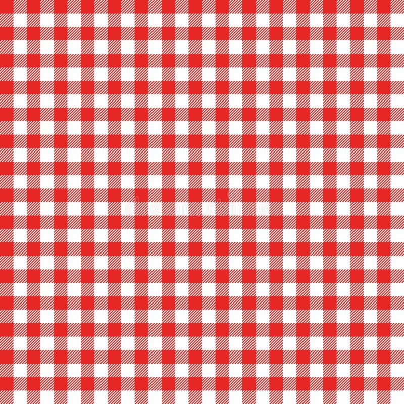 Het naadloze patroon van de gingang Rood Italiaans tafelkleed De doekvector van het picknickverhaal vector illustratie
