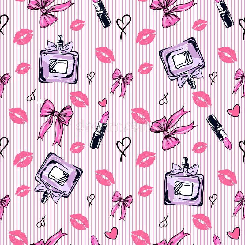 Het naadloze patroon van de glamourmanier in roze kleur vector illustratie