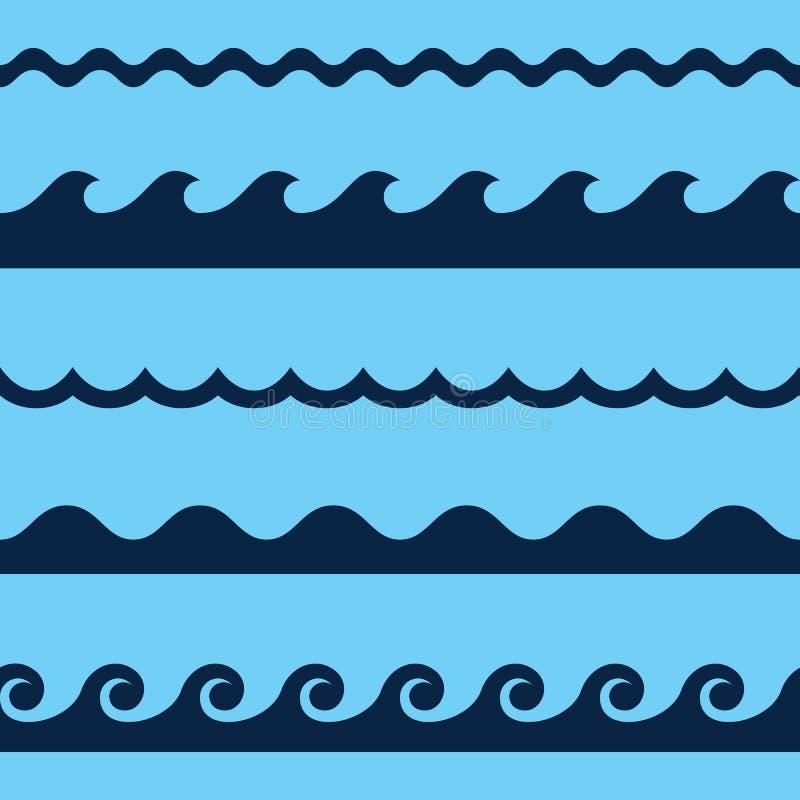 Het naadloze patroon van de golf stock illustratie