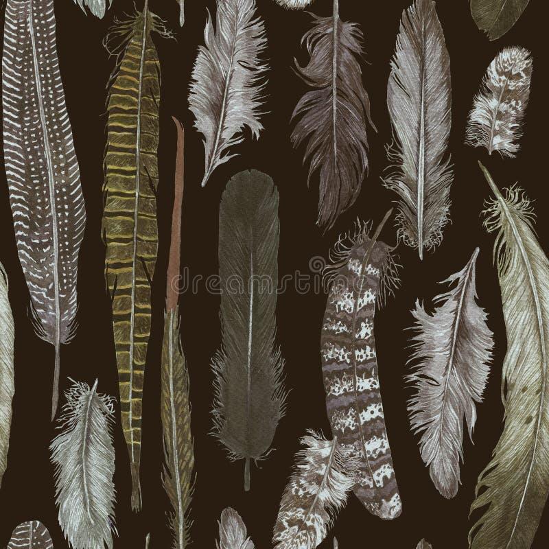 Het naadloze patroon van de hand darwn waterverf met veren royalty-vrije illustratie