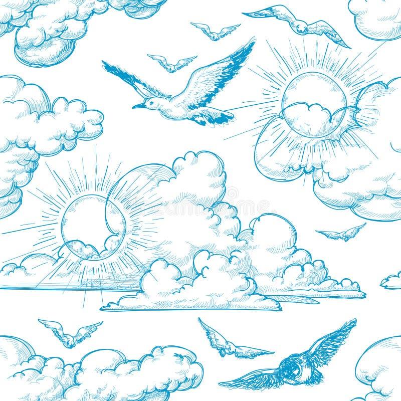 Het naadloze patroon van de hemel vector illustratie