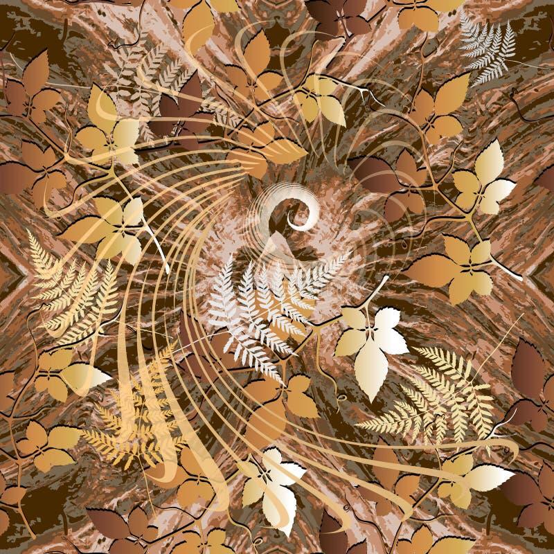 Het naadloze patroon van de herfst Vector sier bladachtergrond Bevlekt geometrisch herhaalt achtergrond Spiraalvormige lijnen, vo stock illustratie