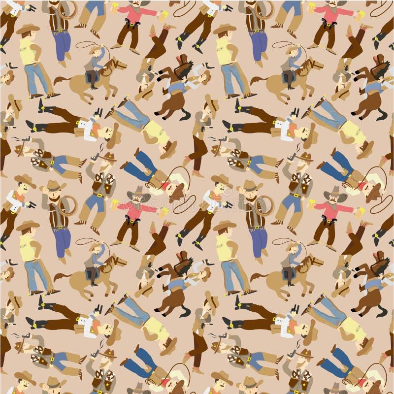 Het naadloze patroon van de het westencowboy stock illustratie