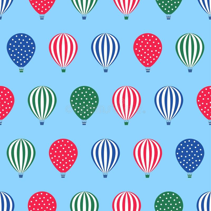 Het naadloze patroon van de hete luchtballon De vectorillustratie van de babydouche op blauwe hemelachtergrond vector illustratie