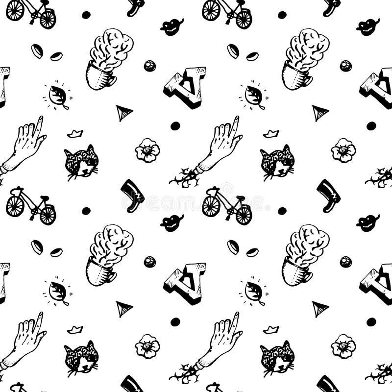 Het naadloze patroon van de Hipsterinkt Met verschillende dingen en mensenhoofden Uitstekende en retro stijl stock illustratie