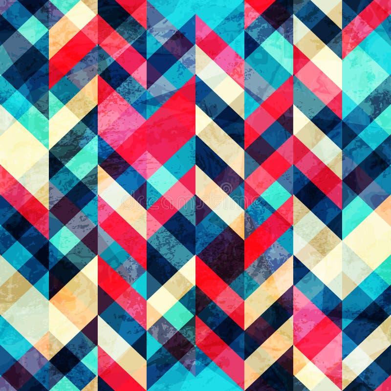 Het naadloze patroon van de Hipsterzigzag met grungeeffect vector illustratie
