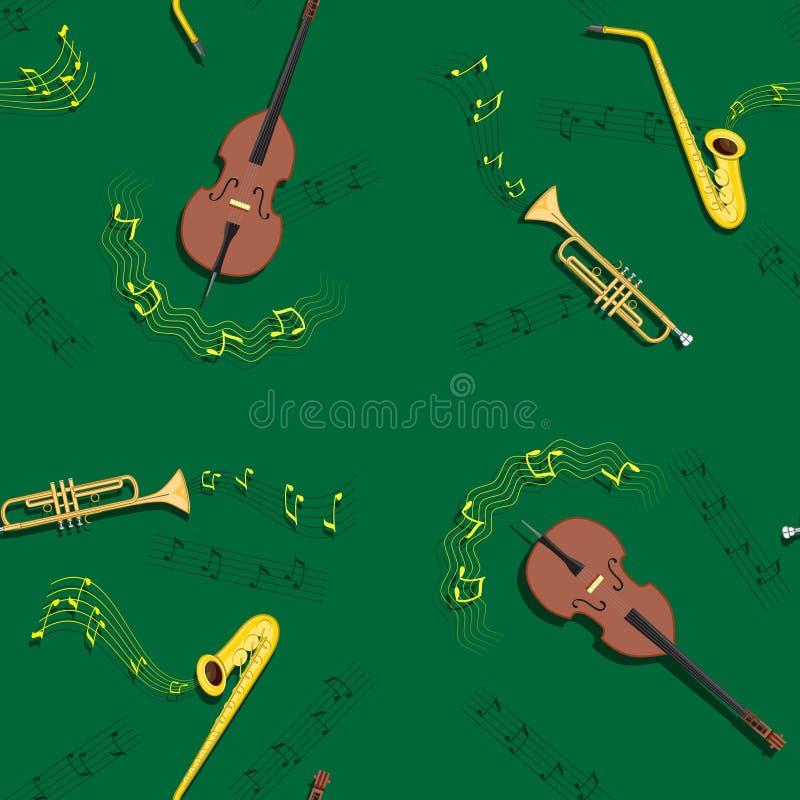 Het naadloze patroon van de jazzmuziek met muzikale instrumenten royalty-vrije illustratie