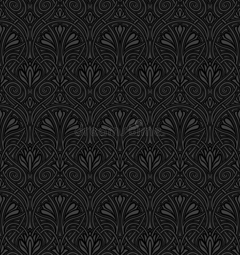 Het naadloze patroon van de Jugendstil royalty-vrije illustratie