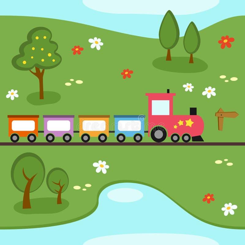 Het Naadloze Patroon van de Kaart van de trein royalty-vrije illustratie