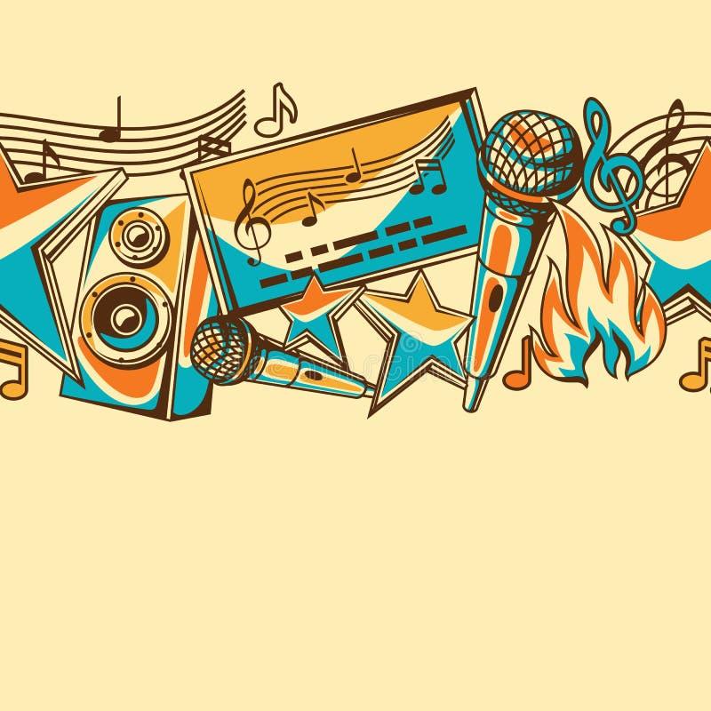 Het naadloze patroon van de karaokepartij De achtergrond van de muziekgebeurtenis Illustratie in retro stijl stock illustratie