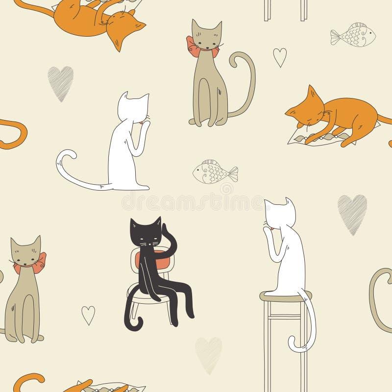 Het Naadloze Patroon Van De Kat Stock Afbeeldingen