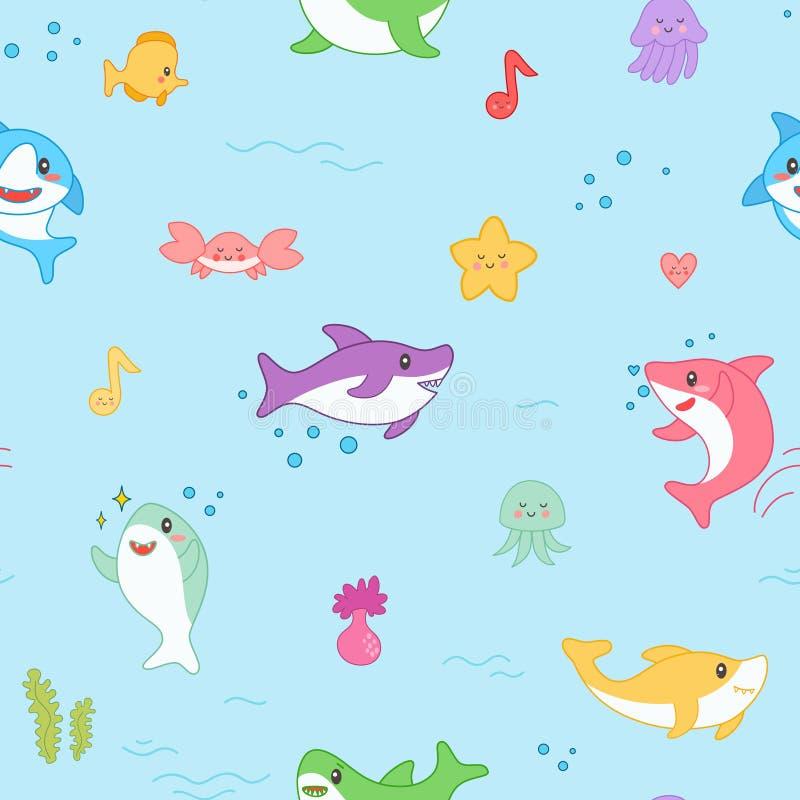 Het Naadloze Patroon van de Kawaiihaai Leuke Grappige Vissen Zeevaartachtergrond met Overzeese Schepselen en Marine Life voor Beh vector illustratie