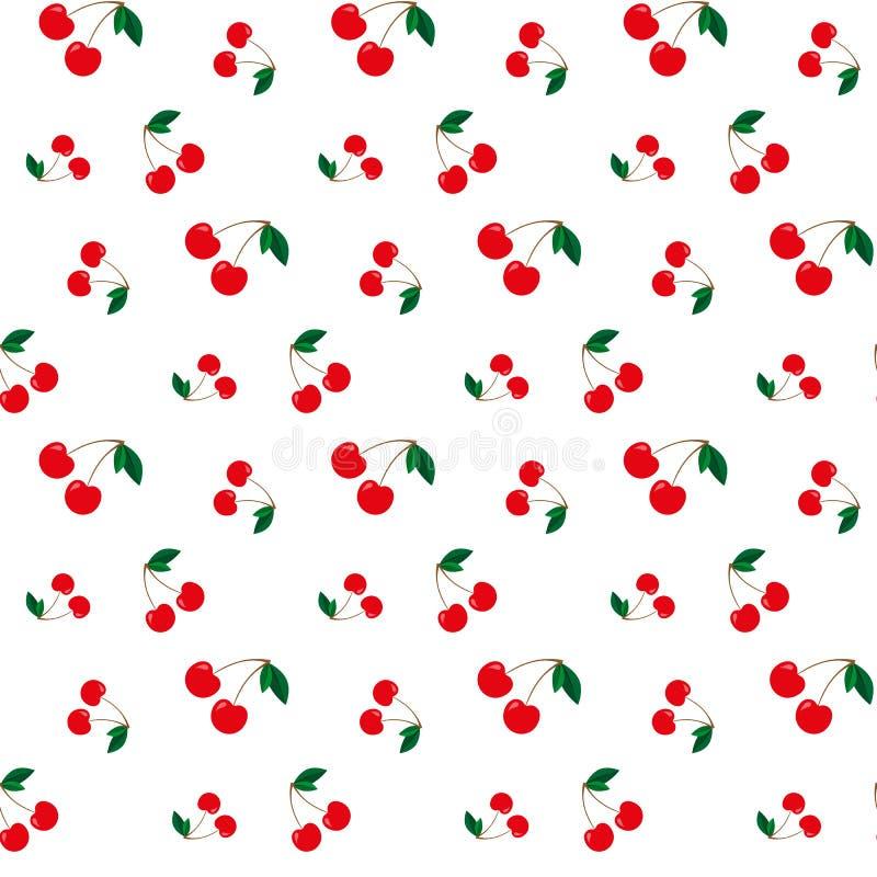 Het naadloze patroon van de kers Vector illustratie stock illustratie