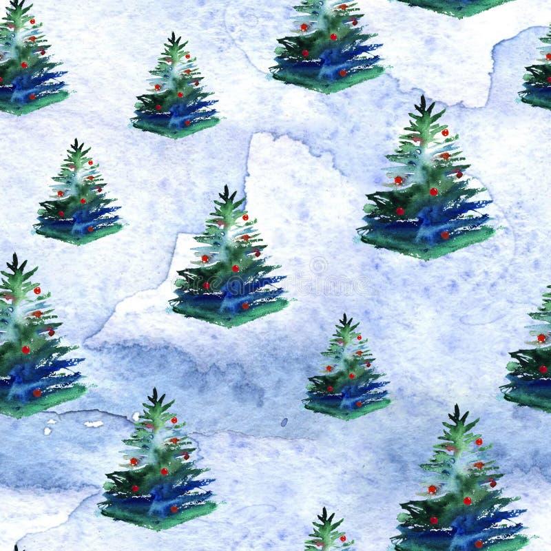 Het naadloze patroon van de kerstboomwaterverf vector illustratie